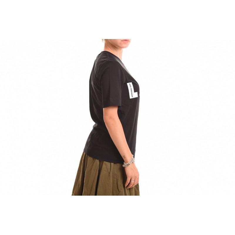 LOVE MOSCHINO - T-Shirt in Cotone con Logo Optical - Nero