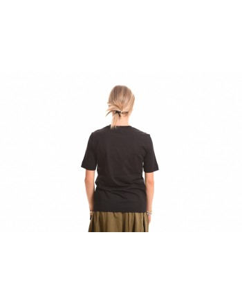 LOVE MOSCHINO - Cotton T-Shirt with Opticl Logo - Black