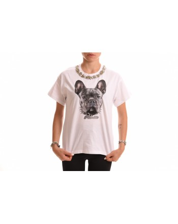 FRANKIE MORELLO - Cotton T-Shirt with French Bulldog - White