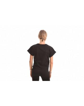 PHILOSOPHY di LORENZO SERAFINI - Cotton T-Shirt with Cursive Logo - Black