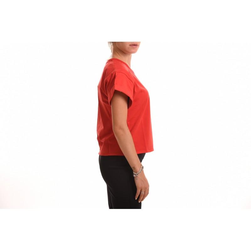 PHILOSOPHY di LORENZO SERAFINI - T-Shirt in Cotone con Logo Corsivo - Rosso