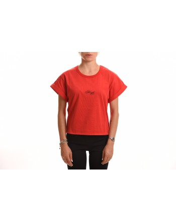 PHILOSOPHY di LORENZO SERAFINI - Cotton T-Shirt with Cursive Logo - Red