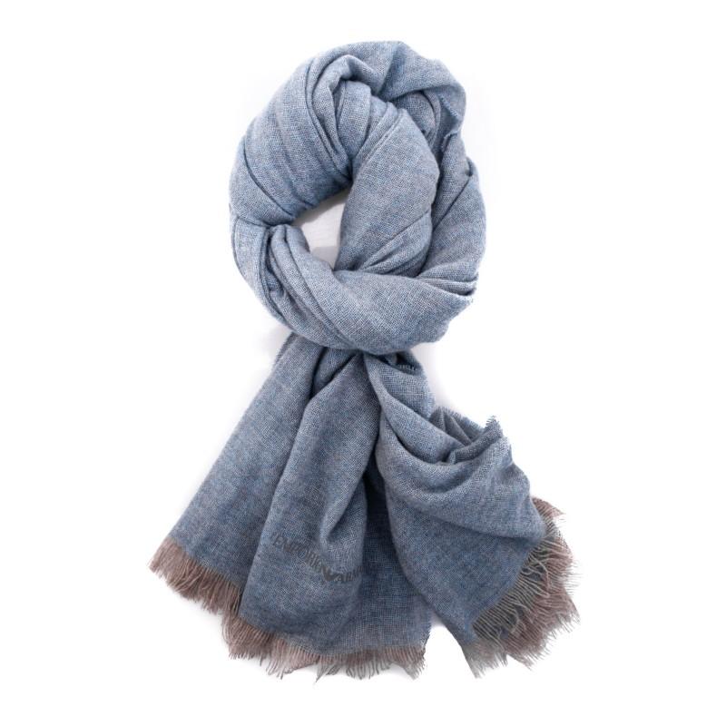 EMPORIO ARMANI - Cashmere scarf - Light Blue