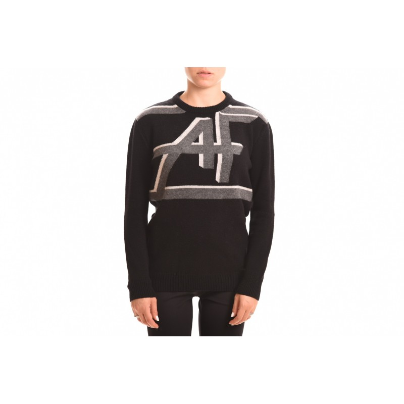 ALBERTA FERRETTI - Ribbed Logo Knit - Black