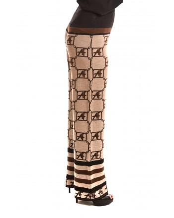 ALBERTA FERRETTI -Wool  Logo Trousers - Beige/Black