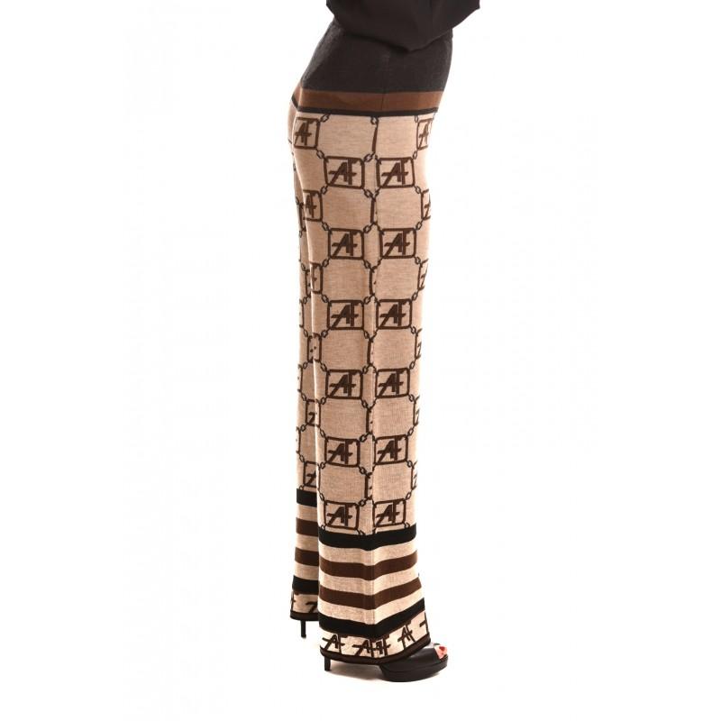 ALBERTA FERRETTI - Pantalone in Lana Stampa Logo - Beige/Nero