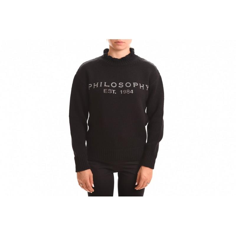 PHILOSOPHY di LORENZO SERAFINI - Wool Knit with Rhinestone Logo - Black