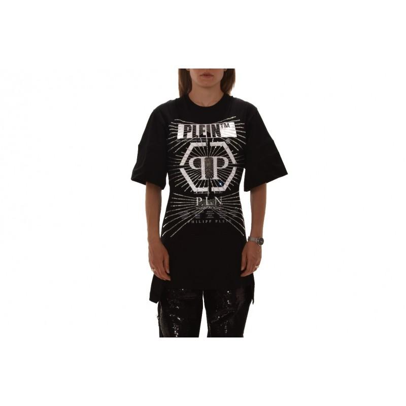 PHILIPP PLEIN - T-Shirt in Cotone con Stampa Strass - Nero