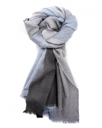 EMPORIO ARMANI - Wool scarf - Grey/Light Blue