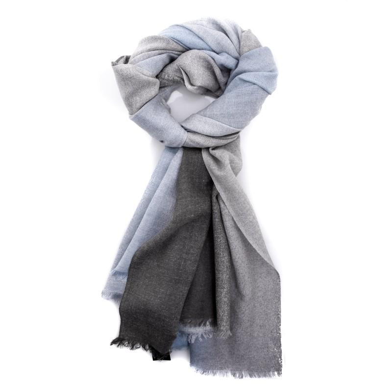 EMPORIO ARMANI - Wool scarf - Grey/Light Blue