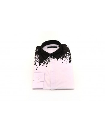 FRANKIE MORELLO - Cotton Shirt with Print on Neckline - Black