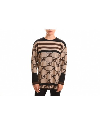 ALBERTA FERRETTI - LOGO STORY wool sweater - Beige/Black/Dark brown