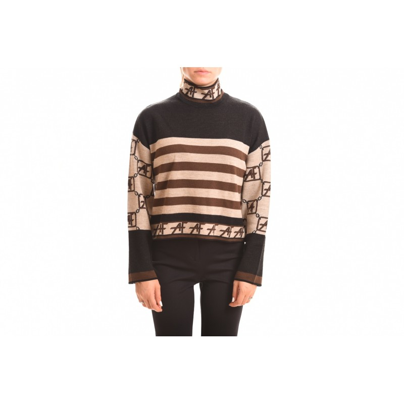 ALBERTA FERRETTI - LOGO STORY high-neck sweater  - Beige/Black