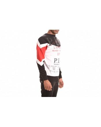 PHILIPP PLEIN - Felpa in cotone con Logo - Nero/Rosso