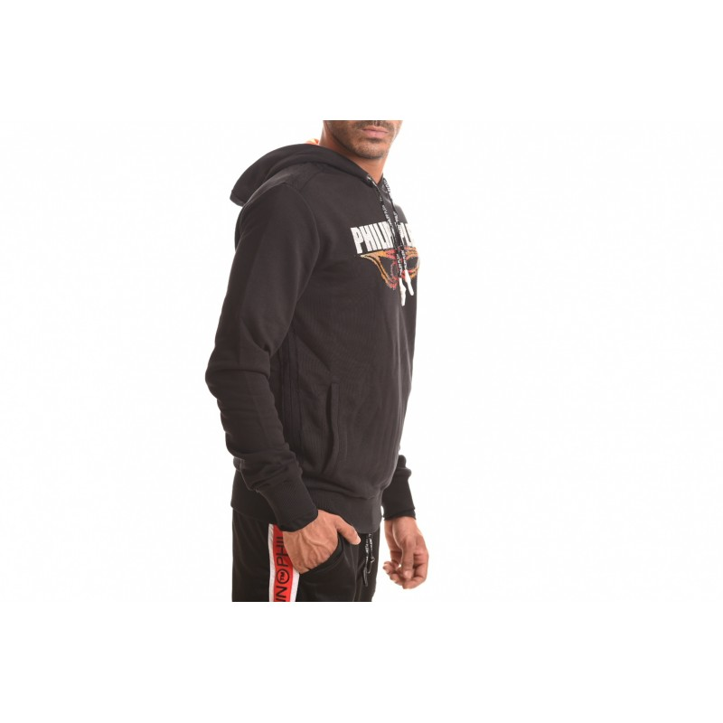 PHILIPP PLEIN - Cotton Sweatshirt with Rhinestone Logo - Black