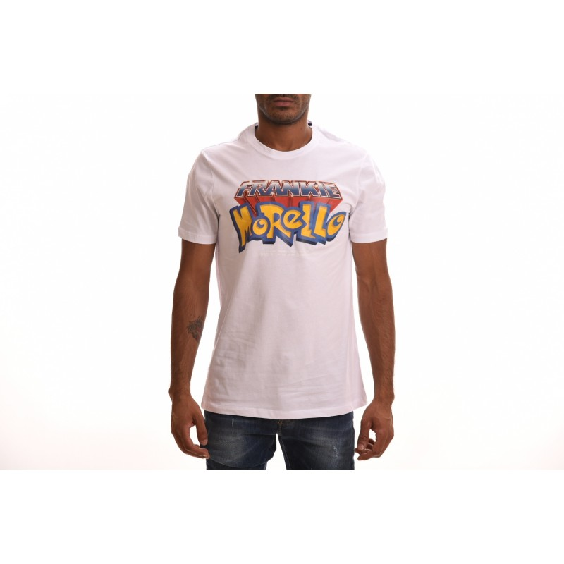 FRANKIE MORELLO - Cotton T-Shirt with Pokemon Logo - White
