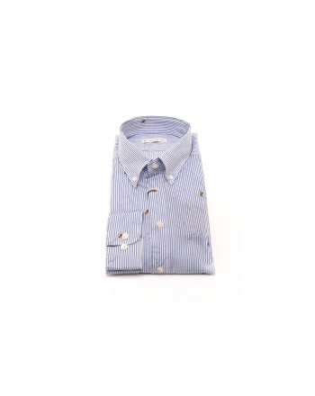 ETRO - Camicia in cotone con API - Bianco/Blu