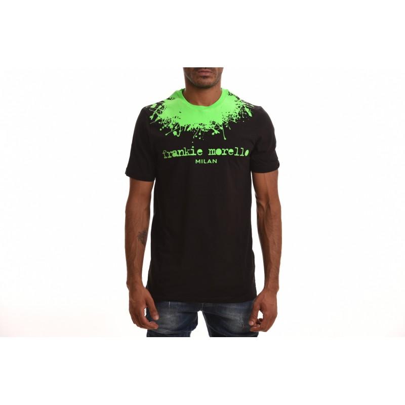 FRANKIE MORELLO- T-Shirt in Cotone con stampa Girocollo - Nero