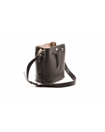 LES COPAINS BLUE - Leather bucket bag - Black