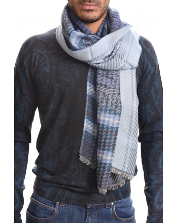ETRO- Jacquard scarf in viscose and cotton - Grey/Light blue
