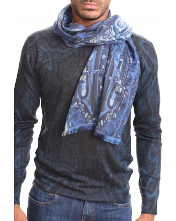 ETRO - CALCUTTA scarf in cashmere and silk - Light blue