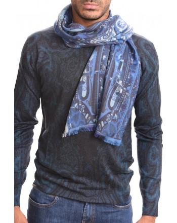 ETRO - Sciarpa CALCUTTA in Cashmere e seta - Azzurro