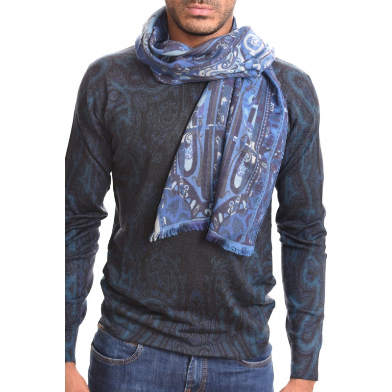 ETRO - CALCUTTA scarf in cashmere and silk - Light blue