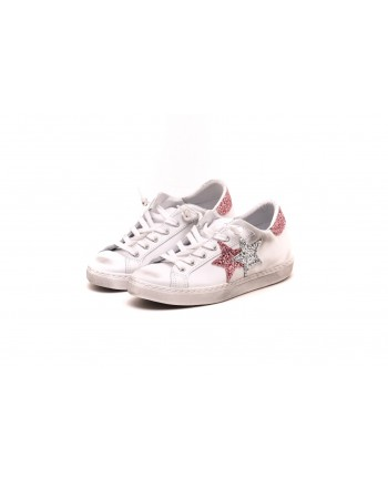 2 STAR - Sneakers in pelle screpolate - Bianco/ArgentoRosa