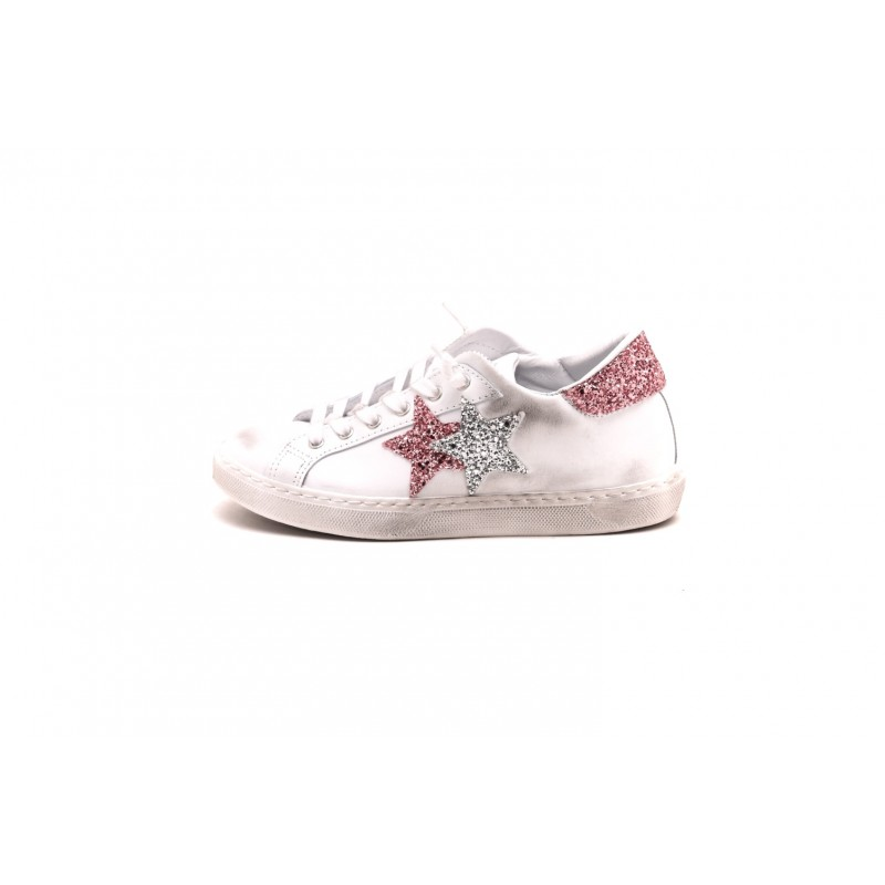 2 STAR - Chapped leather sneakers - White/Silver/Pink