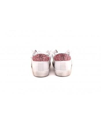 2 STAR - Sneakers in pelle screpolate - Bianco/ArgentoRosa