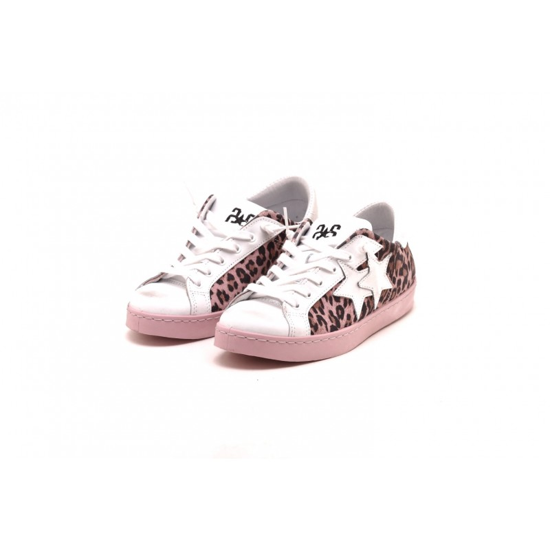 2 STAR - Spotted leather sneakers - Spotted/Pink