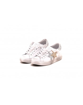2 STAR - Sneakers in pelle LOW Bianco - Bianco/Argento/Oro