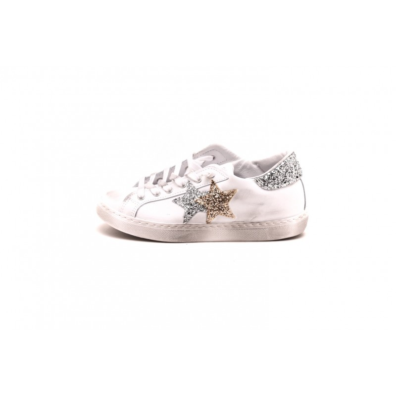2 STAR - LOW White leather sneakers - White/Silver/Gold