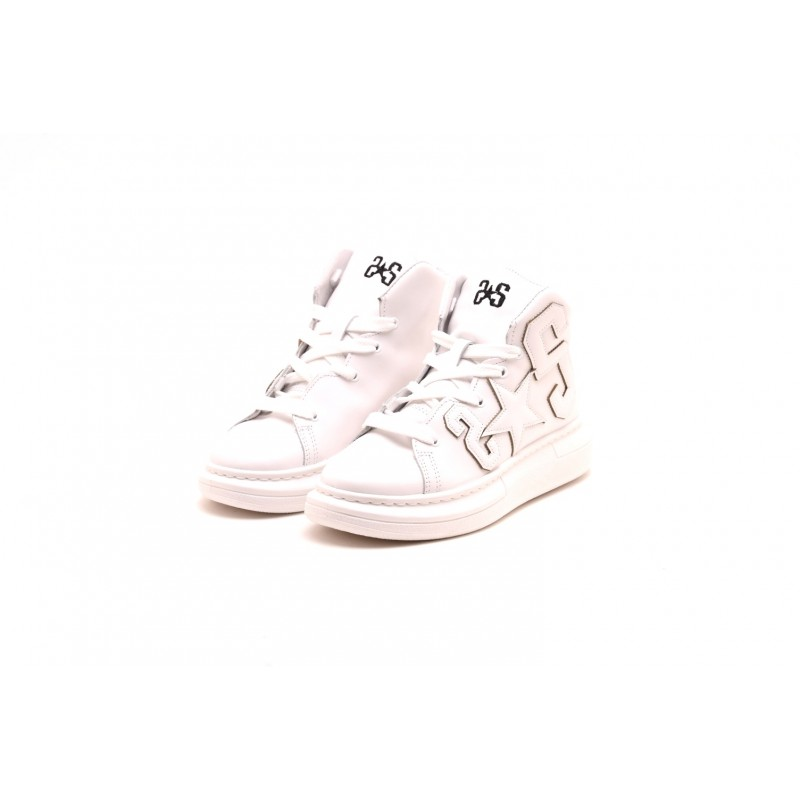 2 STAR - Sneakers Alta in pelle - Bianco