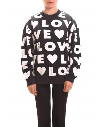 LOVE MOSCHINO - Felpa LOVE in cotone - Nero/Bianco