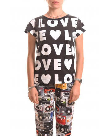 LOVE MOSCHINO - T-shirt LOVE in cotone - Nero