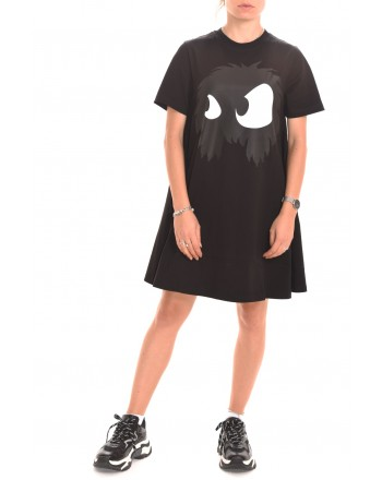 MCQ BY ALEXANDER MCQUEEN - MONSTER CODE cotton dress - Black