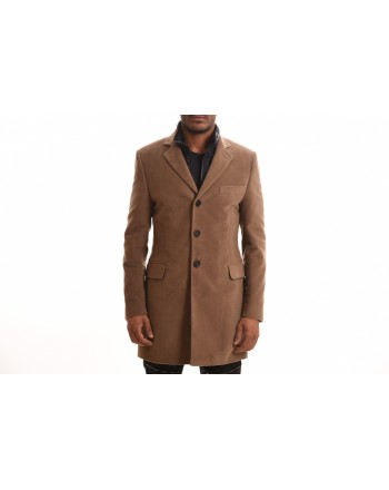 FAY - DOUBLE COAT Cotton Fustian Coat - Mud Beige