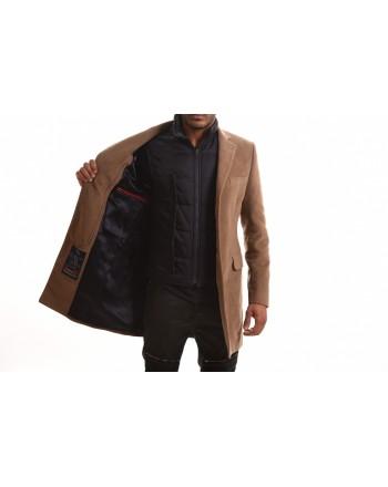 FAY - DOUBLE COAT Cotton Fustian Coat - Mud Beige