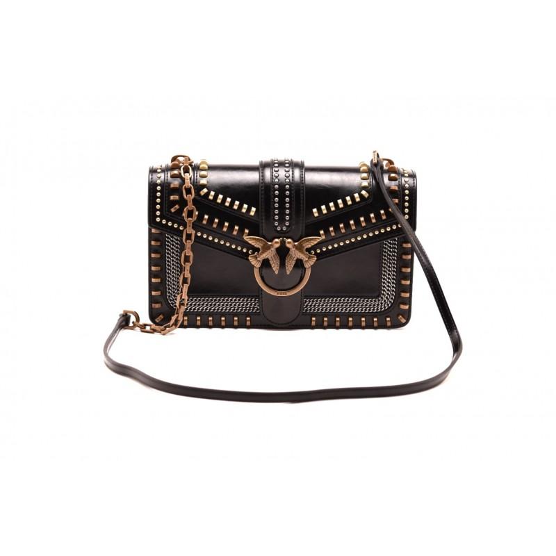 PINKO - Leather LOVE MIX STUDS bag - Black