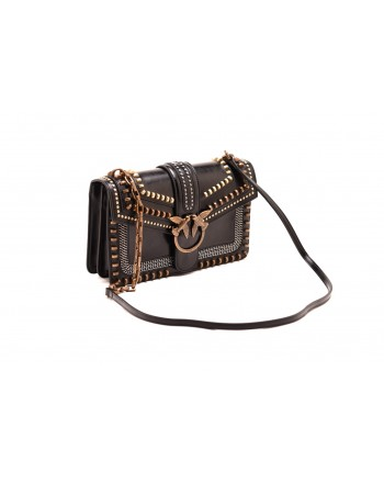PINKO - Borsa  LOVE MIX STUDS in pelle - Nero