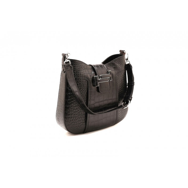 TOD'S - Leather Reptile Printed  Hobo Bag - Black