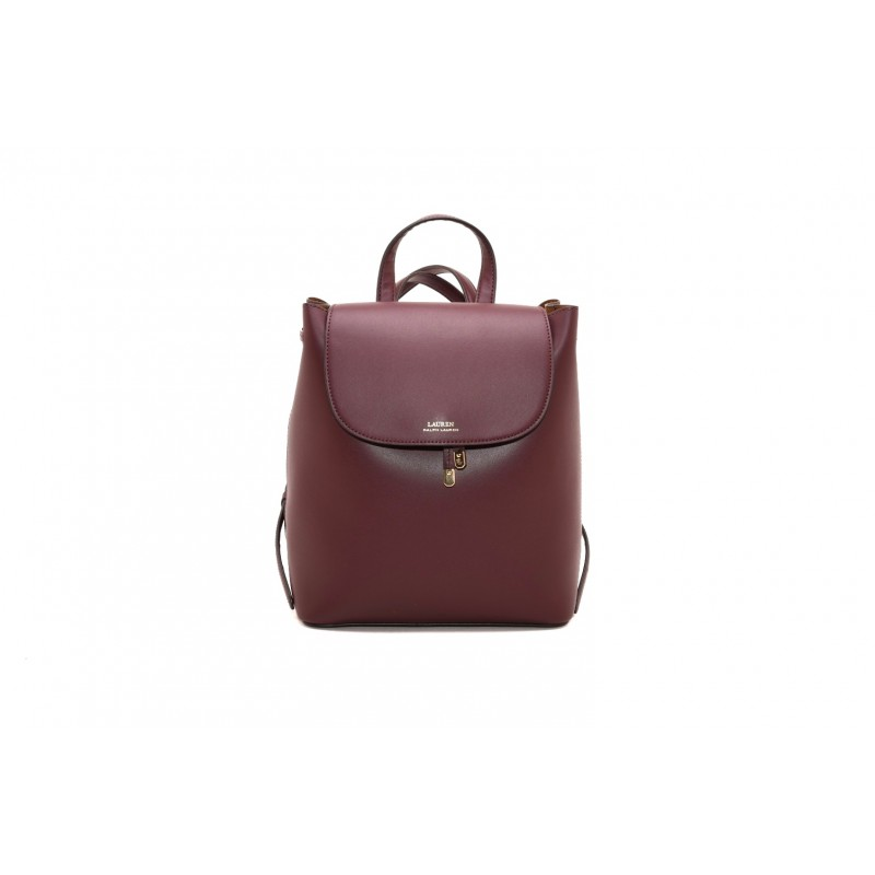 POLO RALPH LAUREN - Leather Backpack with Drawstring - Bordeaux Field Brown