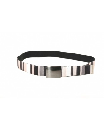 GALLO - Striped fabric belt - Black/White