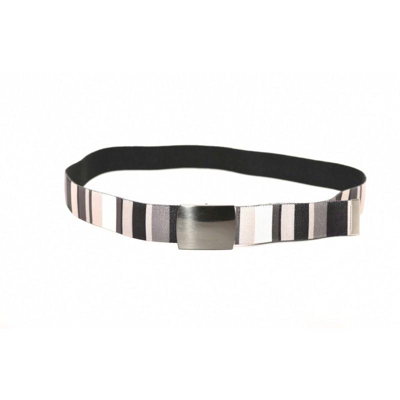 GALLO - Cintura a righe in tessuto - Nero/Panna