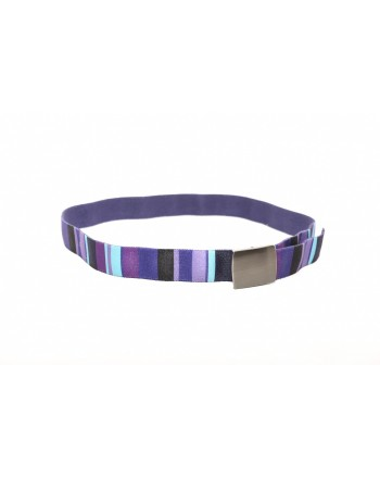 GALLO - Striped fabric belt - Purple
