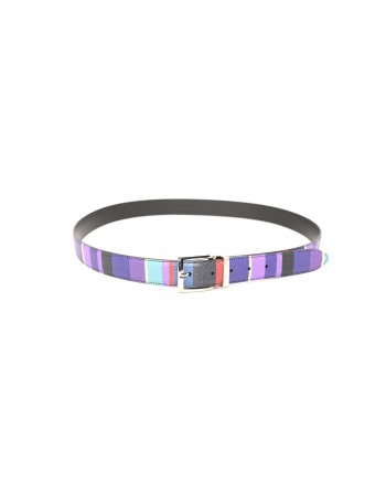 GALLO - Striped leather belt - Purple