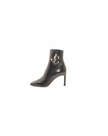 JIMMY CHOO - MINORI 85 in leather with metallic Logo - Black