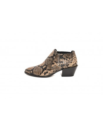 TOD'S - Leather Reptile printed Ankleboot  - Light Argyle