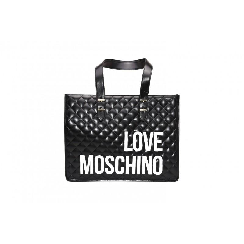 LOVE MOSCHINO - Borsa shopping in pelle trapuntata - Nero